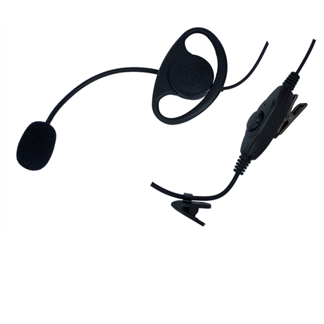 Heavy Duty  boom microphone with D-cup extra loud earphone. Use on VOX (hands-free) or PTT