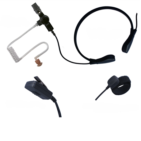 Throat (vibration) microphone with Acoustic ear-tube speaker and finger and pad PTT button.<br /> Ideal for racing, motor biking, extreme noise/wind. Use on VOX (Hands-free) or PTT