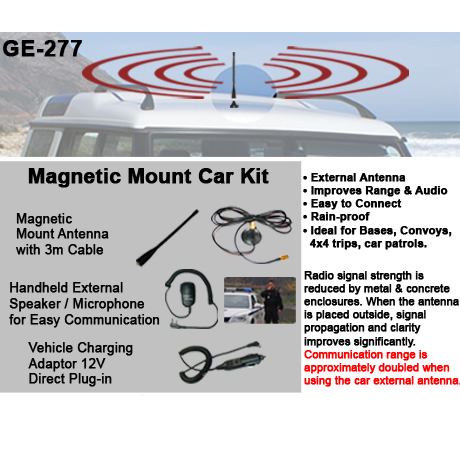 Magnetic mount Car Kit<br />Includes Magnetic base with 3m cable, Antenna, Lapel speaker Mic, Vehicle plug-in charger